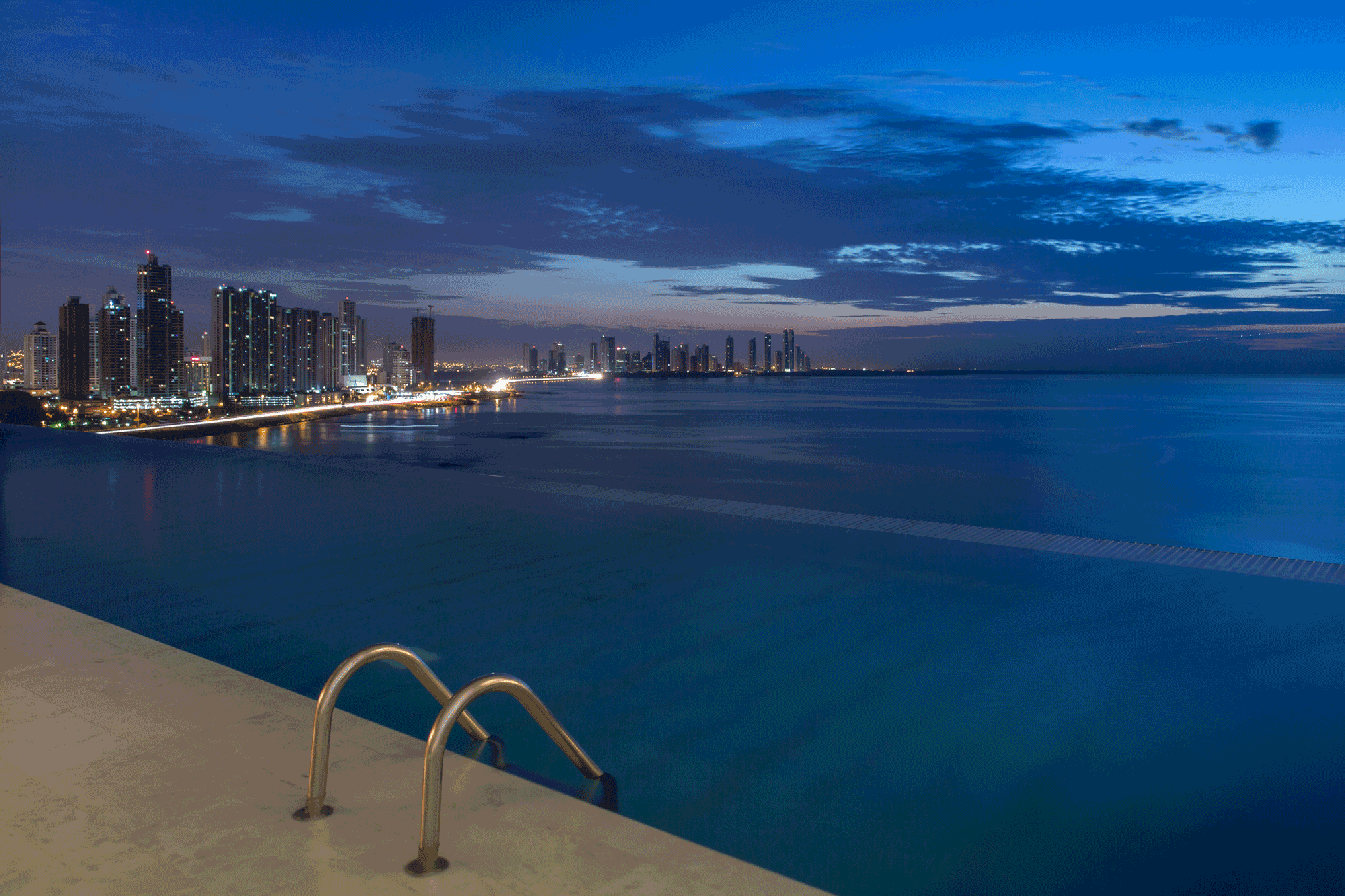 Pool at the hotel with Panama City skyline
