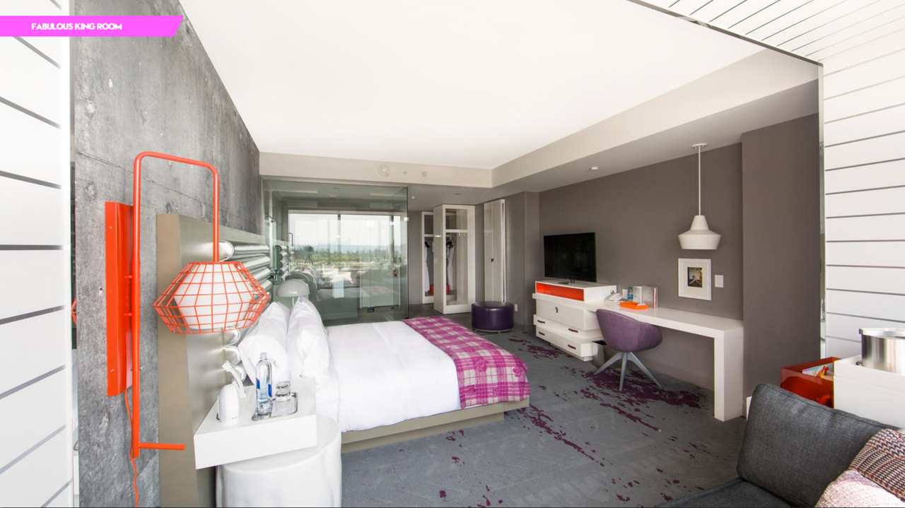 "Carpets in the guestrooms have a ""spilled wine"" design to celebrate the region's vineyards."