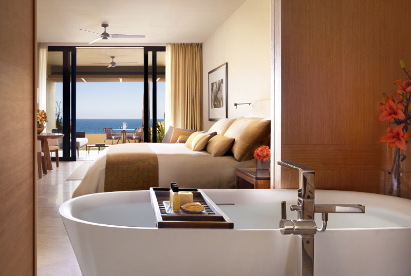 Another view of a Montage Los Cabos guest room, from the bathroom.