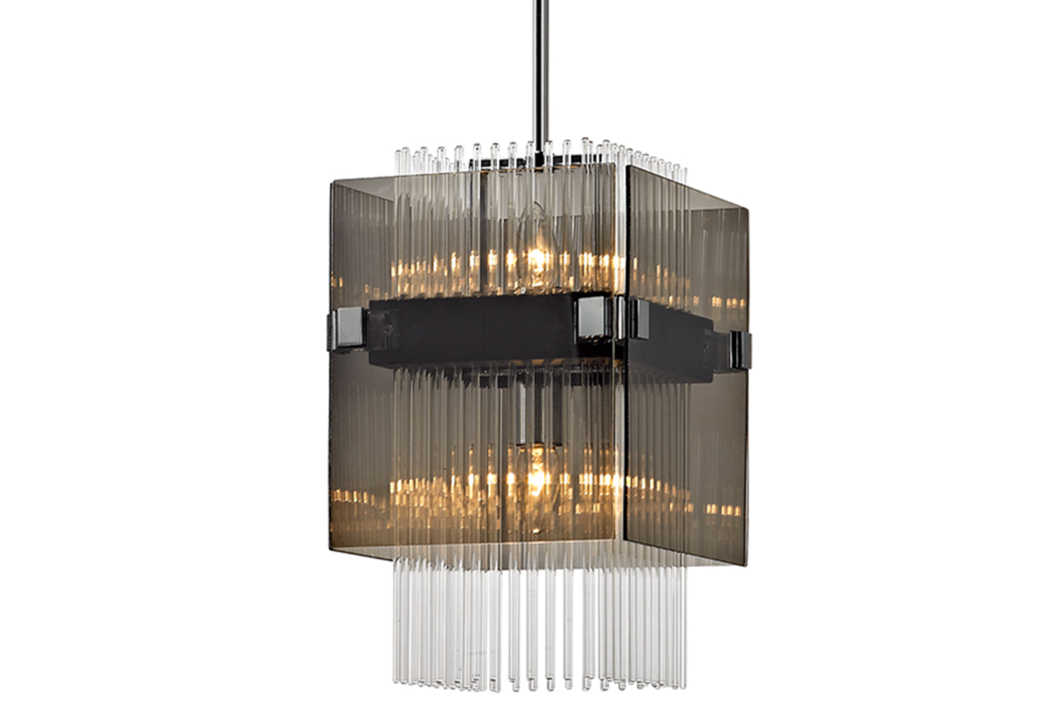 Apollo uses layers of plated smoked glass and rows of solid glass rods that refract light.