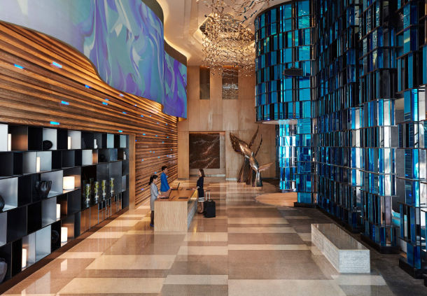 A digital wall at the Shanhaitian Resort Sanya combines technology with art.
