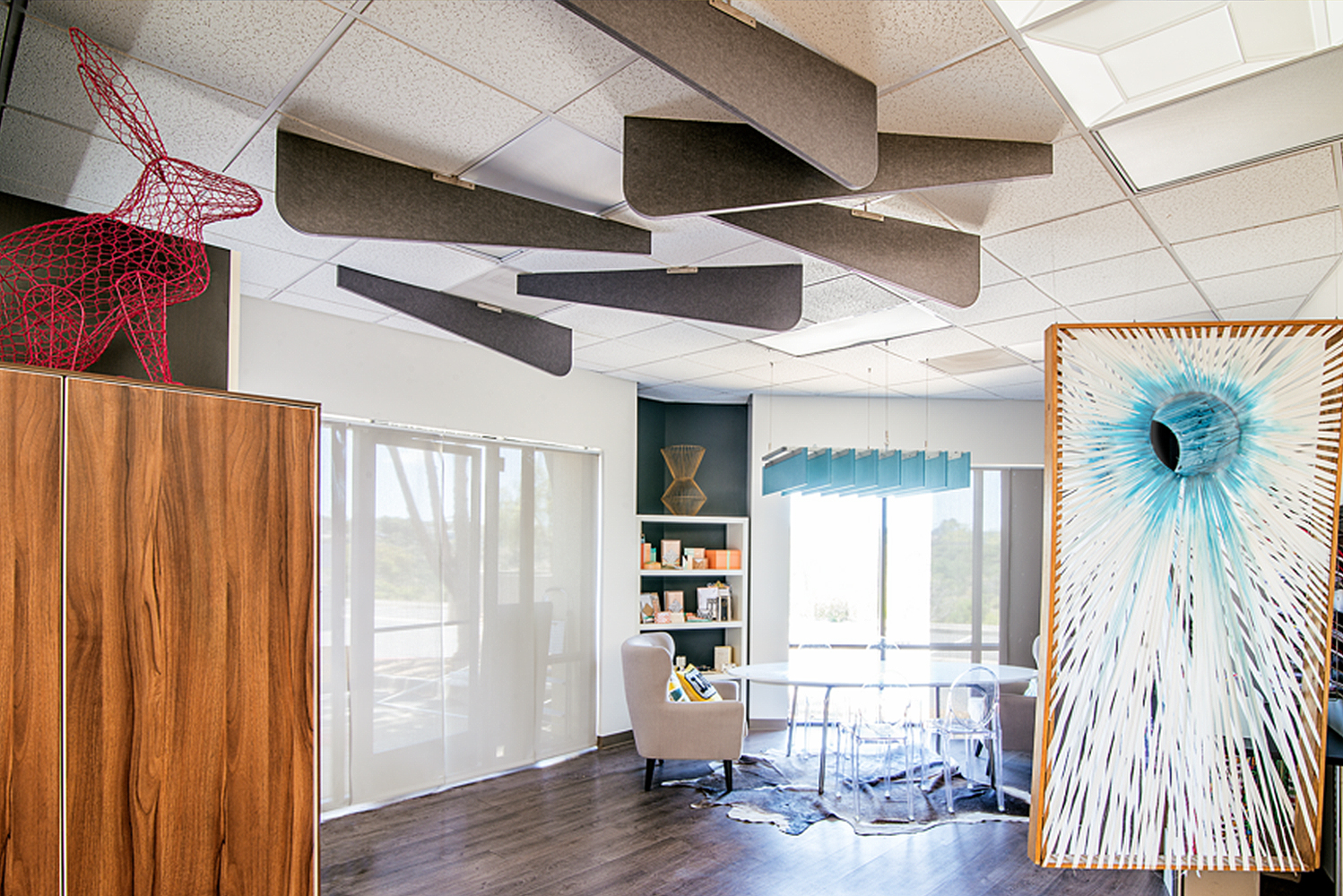 These blades install easily and break up the monotony of ceiling tiles by introducing creative outlines, vibrant colors and functional acoustics.