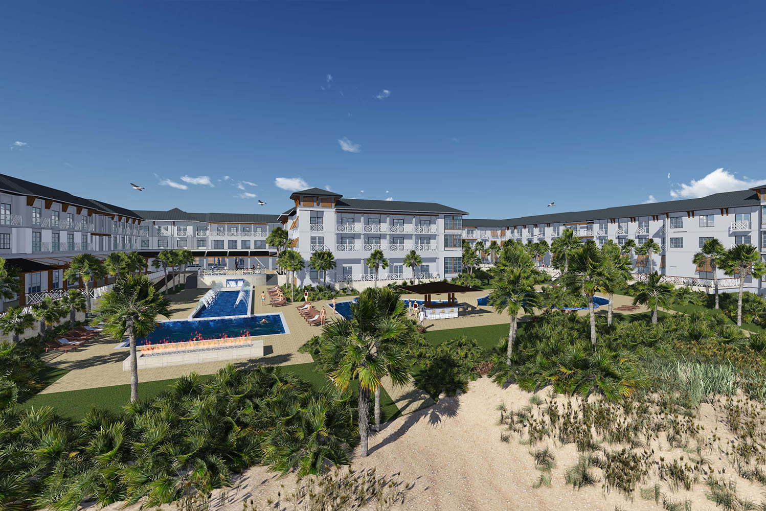 The resort will have 175 keys, including king, studio king, two-bedroom and queen-queen suites, and several outdoor venues with ocean views.