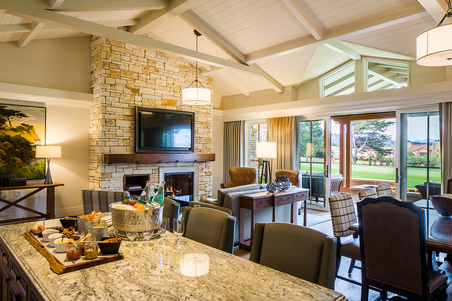 Fairway One has three two-story buildings with 10 guestrooms each, two four-bedroom golf cottages, and the Fairway One Meeting Facility.
