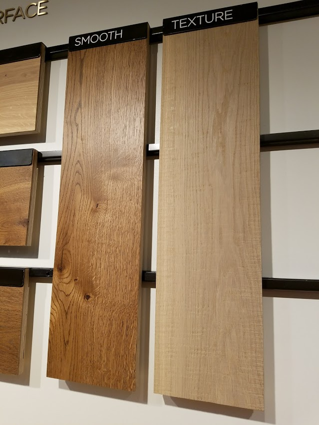 The showroom's displays explain different types of wood and finishes.