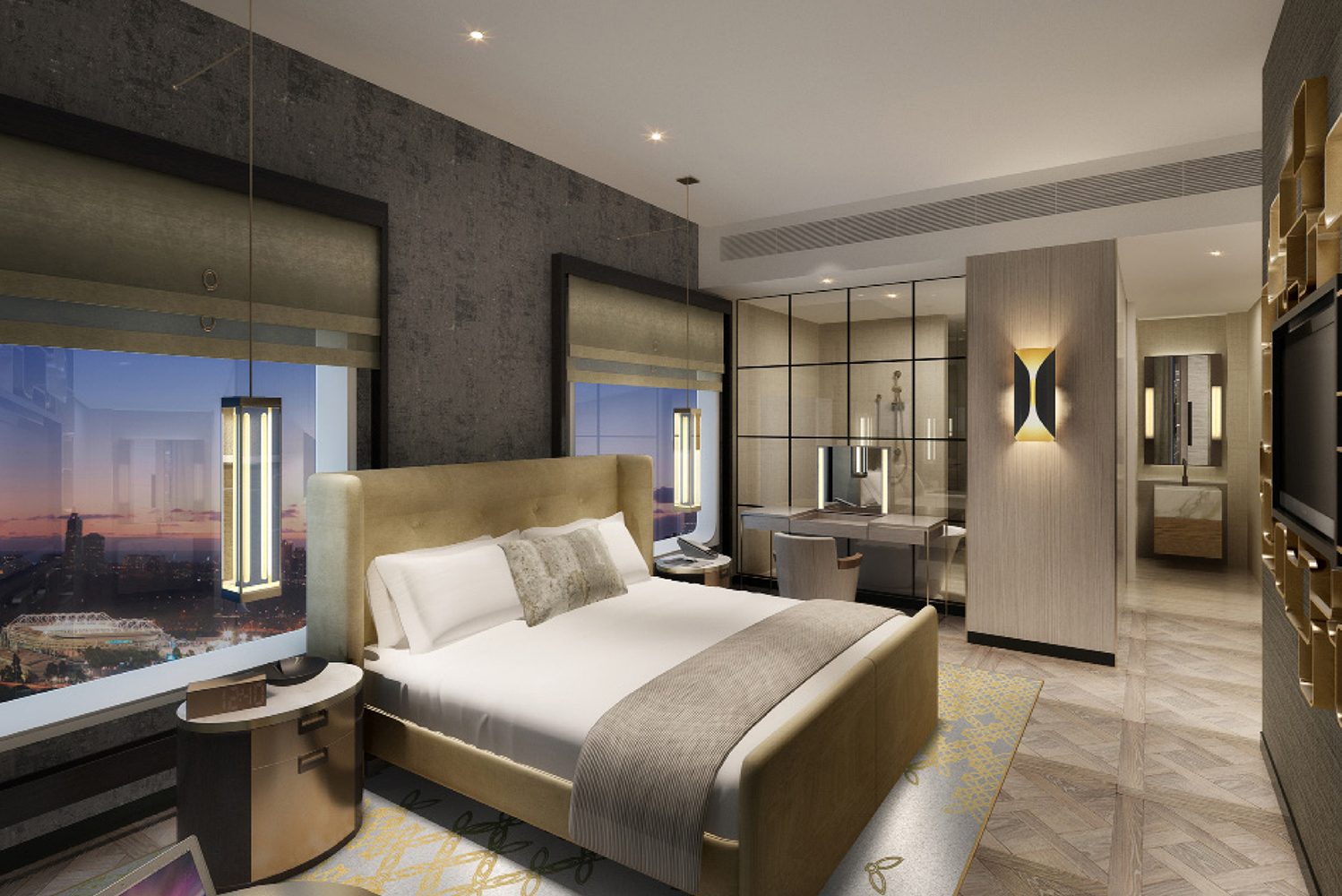 Each room has light filled space and amenity from luxe toiletries, mini bar with local wines and boutique brews, smart TVs and complimentary Wi-Fi connectivity.