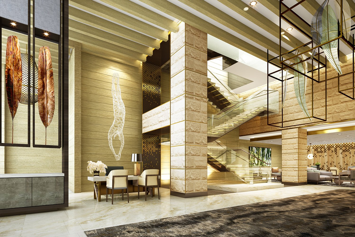Design details will include sandstone walled lobby spaces, sweeping sculptural statements, dramatic lighting, glass encased stairwells and new furnishings.