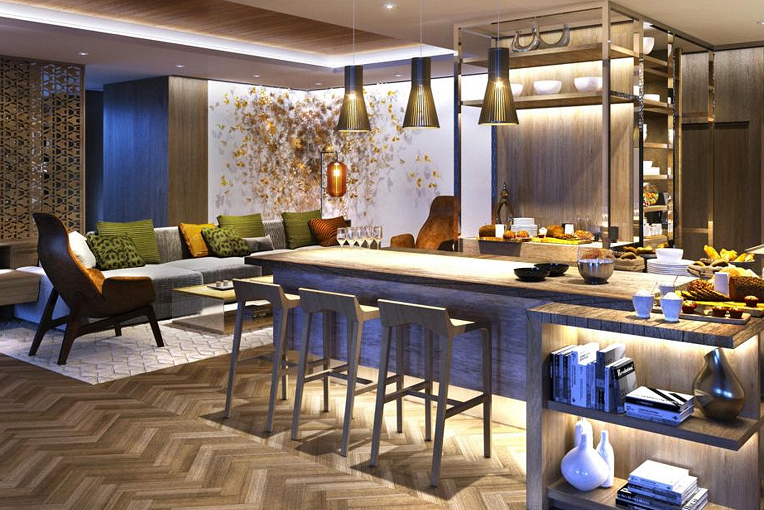 The interiors of the new InterContinental Perth City Centre's restaurant and bar offerings were designed by EDG Design.
