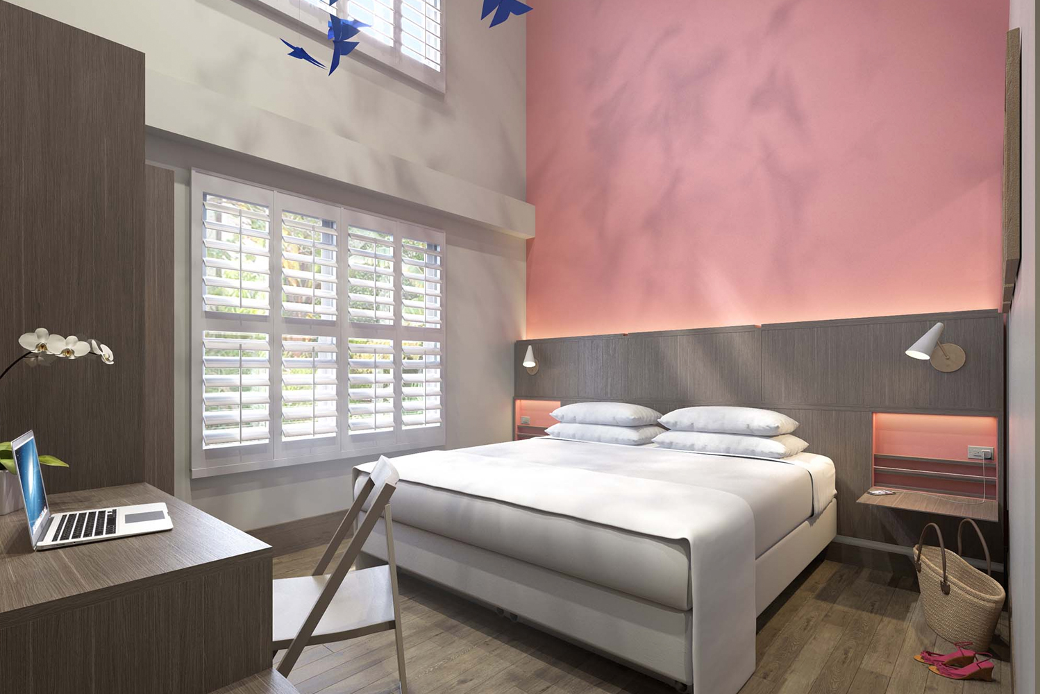 The Julia has 29 guestrooms, each with memory-foam mattresses, custom-designed furnishings, as well as coral and grey accent colors.