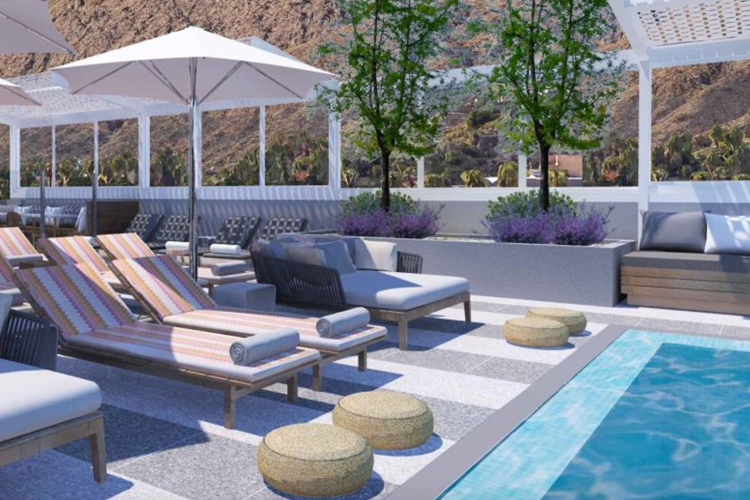 At the rooftop, six cabanas will line the pool.