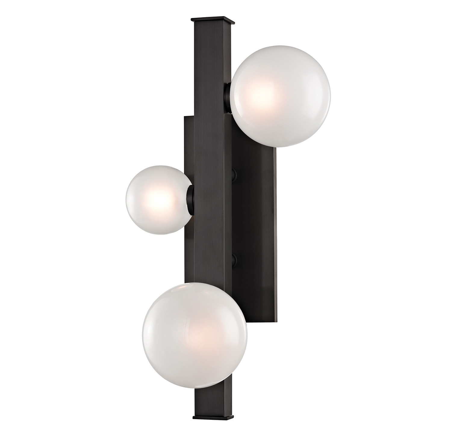The fixture offers hand-blown glass spheres that gather around a singular metal beam, serving as an axis for the etched, glossy orbs of diffused LED light.