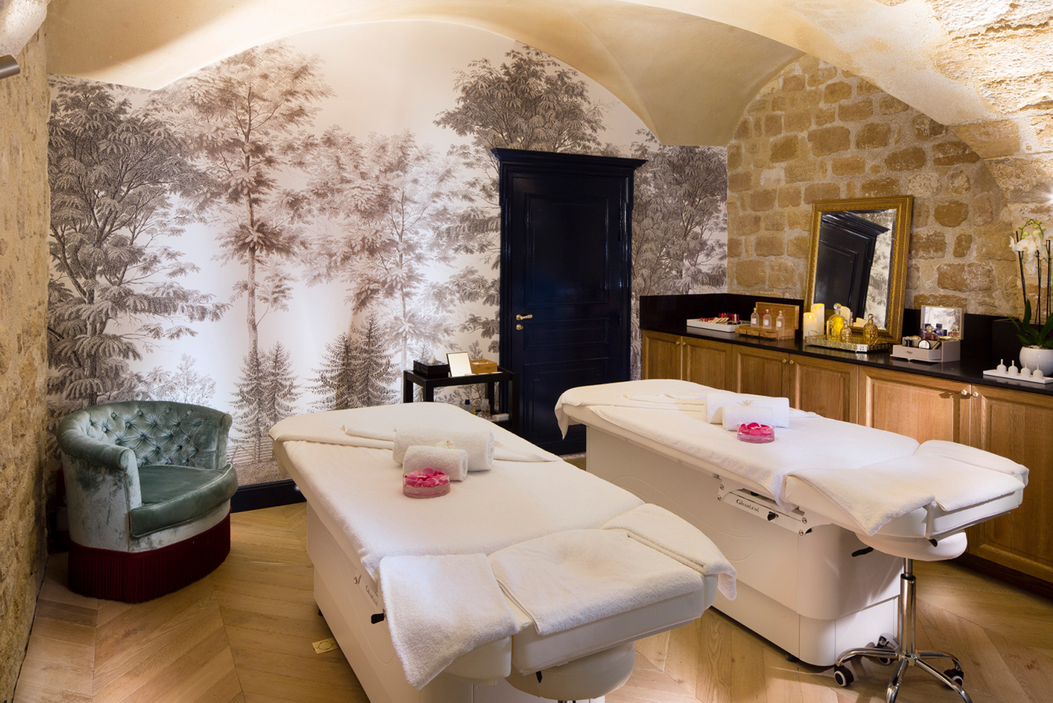 Spread beneath vaulted ceilings that date from the Middle Ages is the hotel's Guerlain Spa.