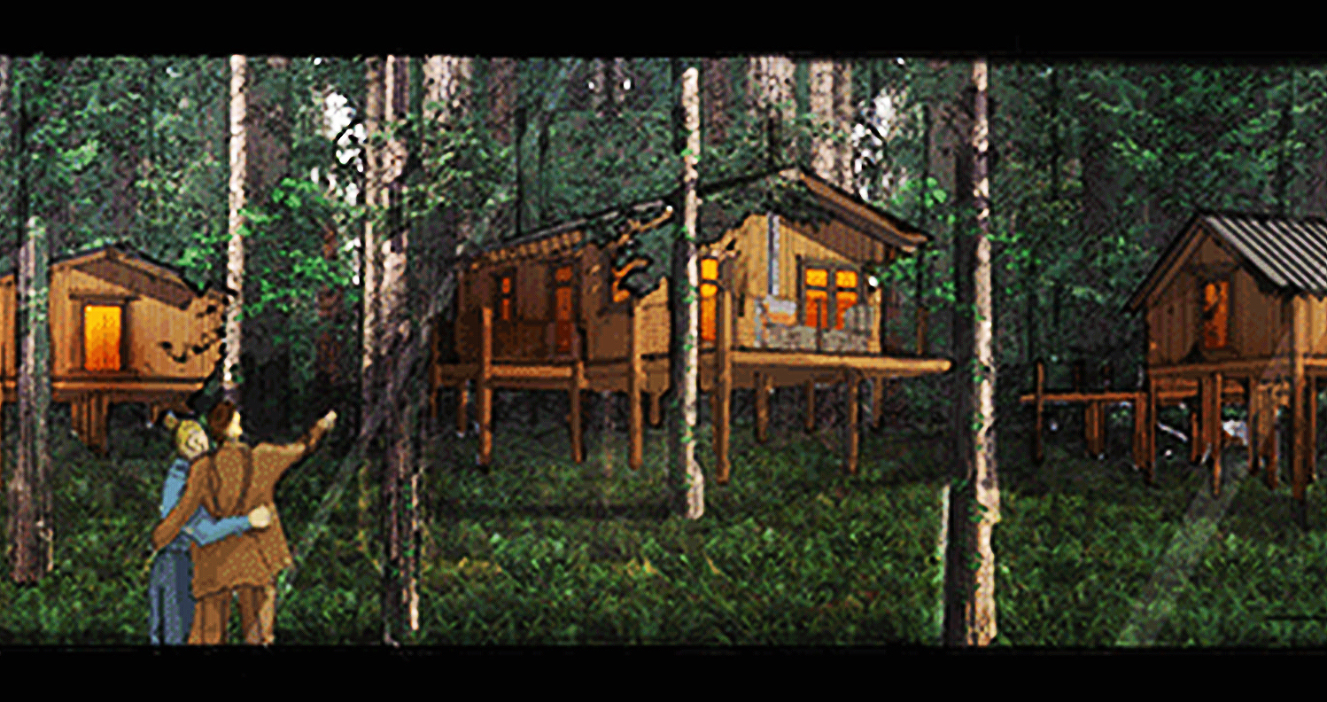 The new tree houses are designed for families.