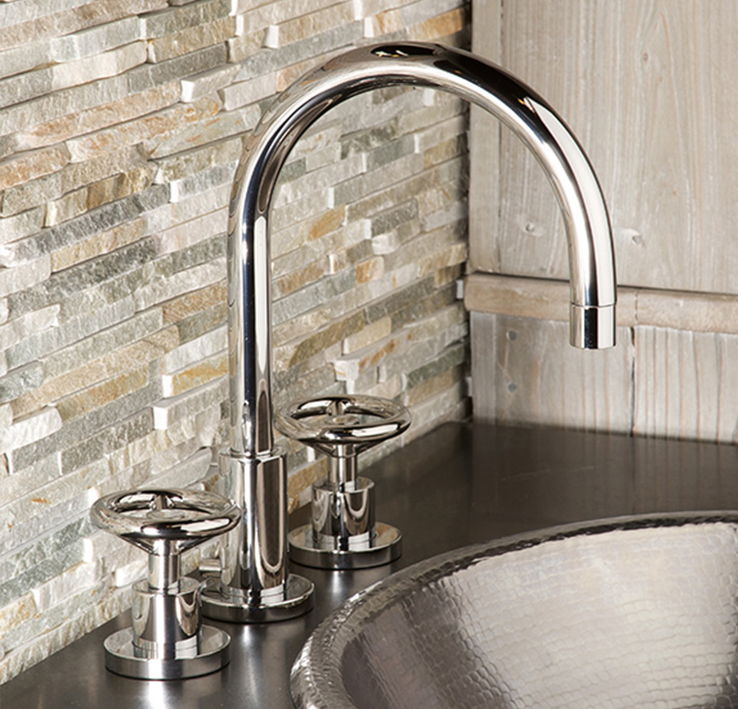Slater's handles are inspired by a traditional, iconic gate valve, but its design is infused with modern touches.