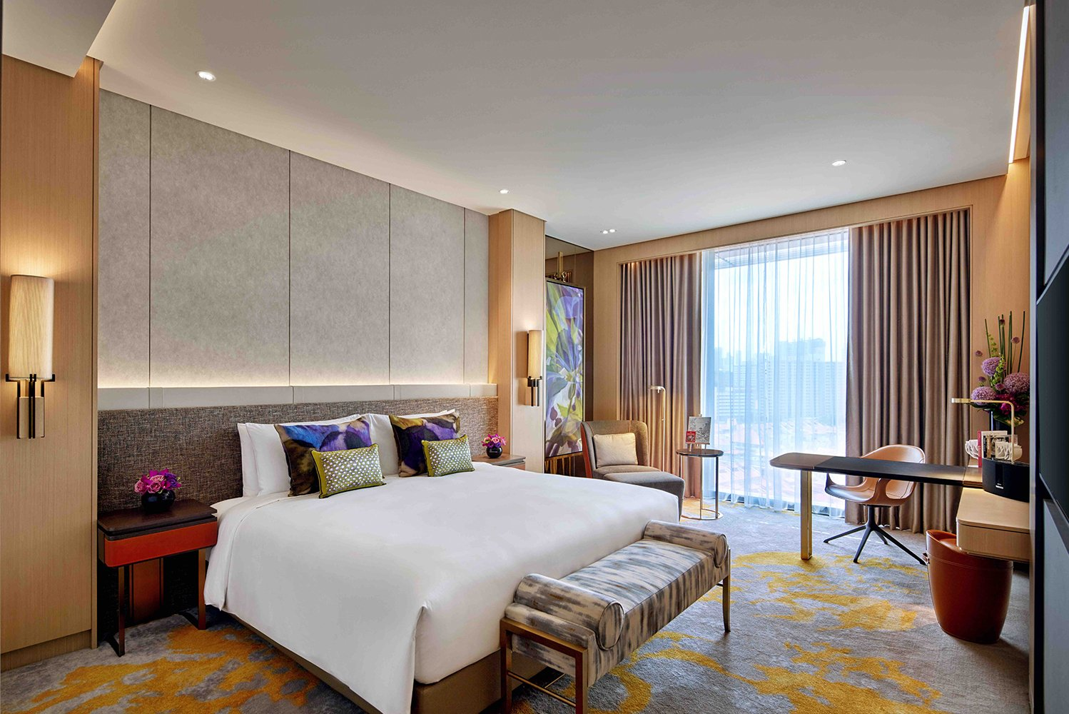 The 223-room luxury hotel was designed to reflect Singapore's cultural heritage with French flair.
