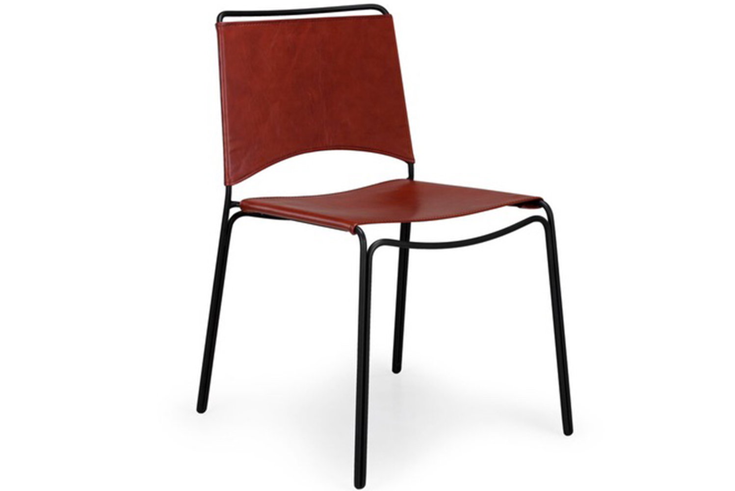 The Trace dining chair has a minimalist powder-coated steel wire frame paired with either a stitched leather or molded plywood seat.