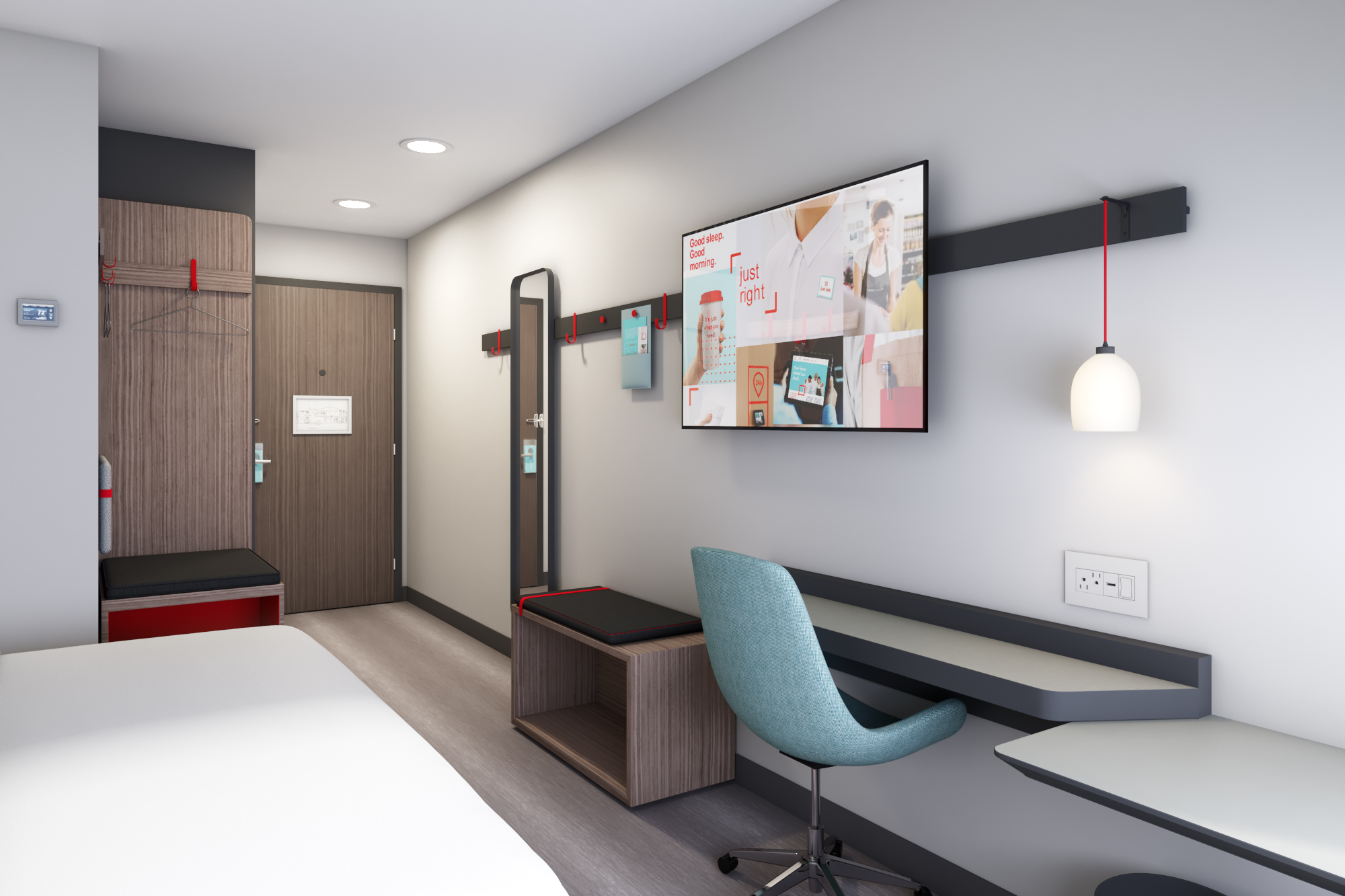 Following guest research, the guestrooms have sound-reducing elements and open storage spaces.