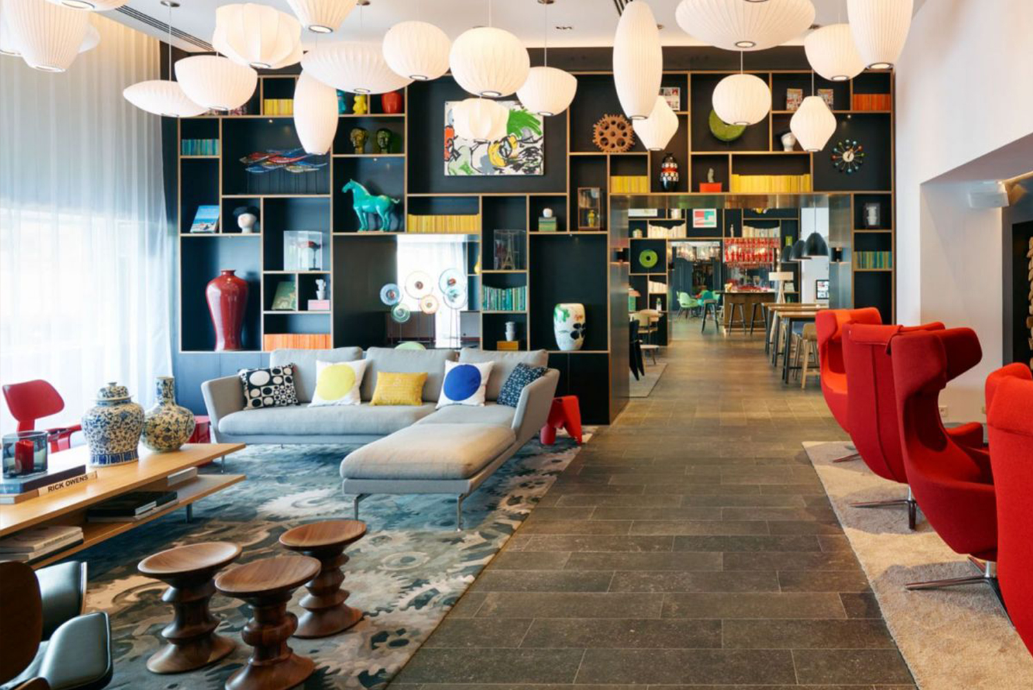 The living room also has the dining and bar concept called canteenM, which has custom artwork from French street artist Mast Cora.