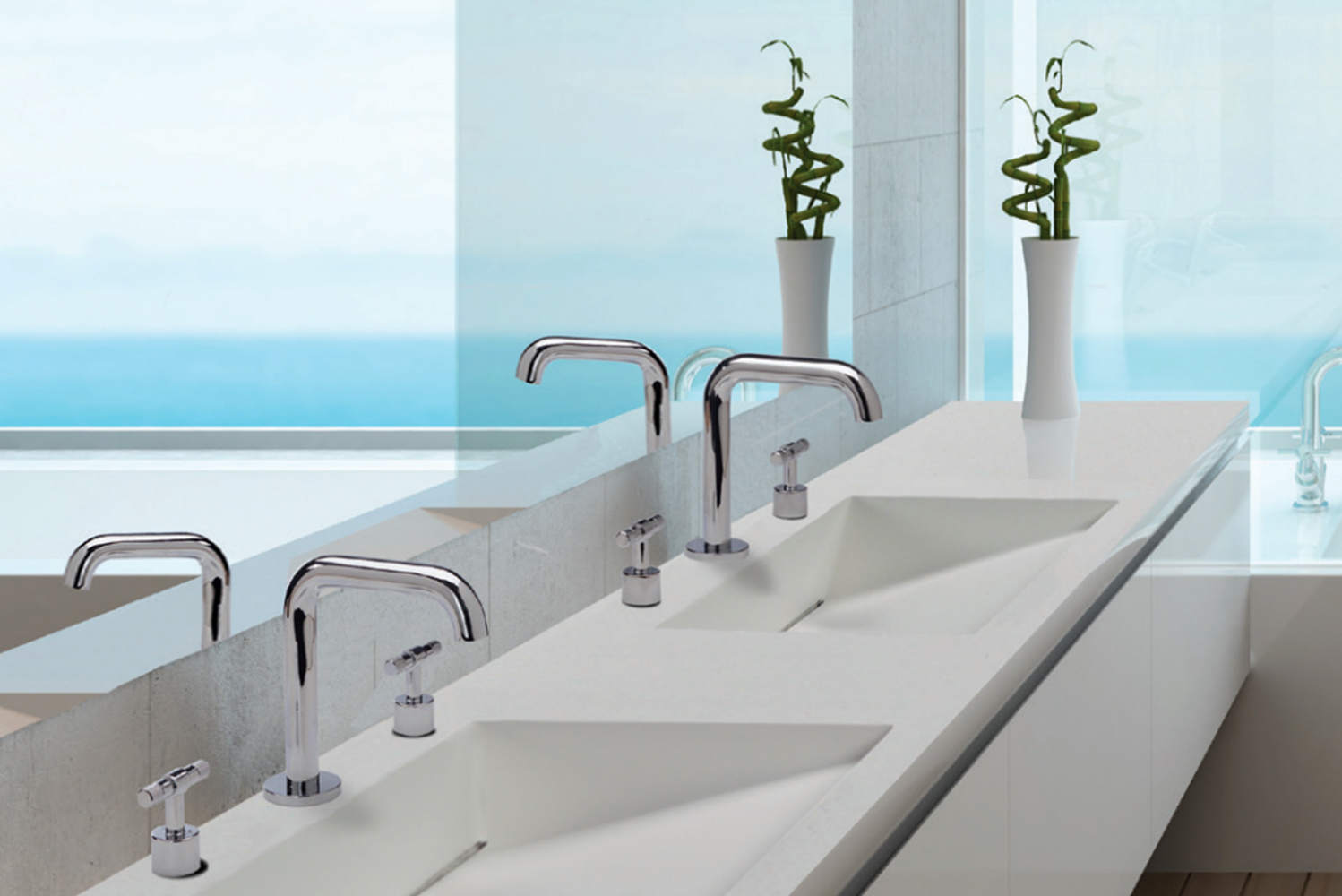 This rectangular basin is notable for its sloped bottom that runs from the front to an integrated slotted drain along the back of the sink bottom.