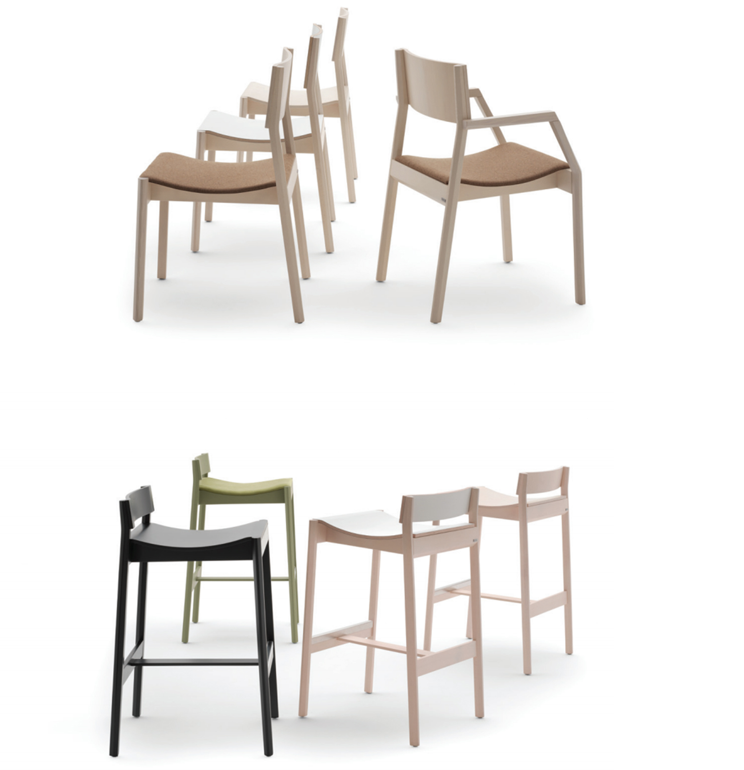 Maki comprises barstools, counter stools and stackable chairs with optional arms.
