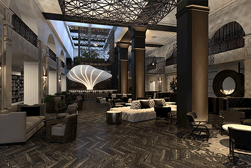 The atrium contrasts Roaring Twenties-style décor with more modern and locally informed elements