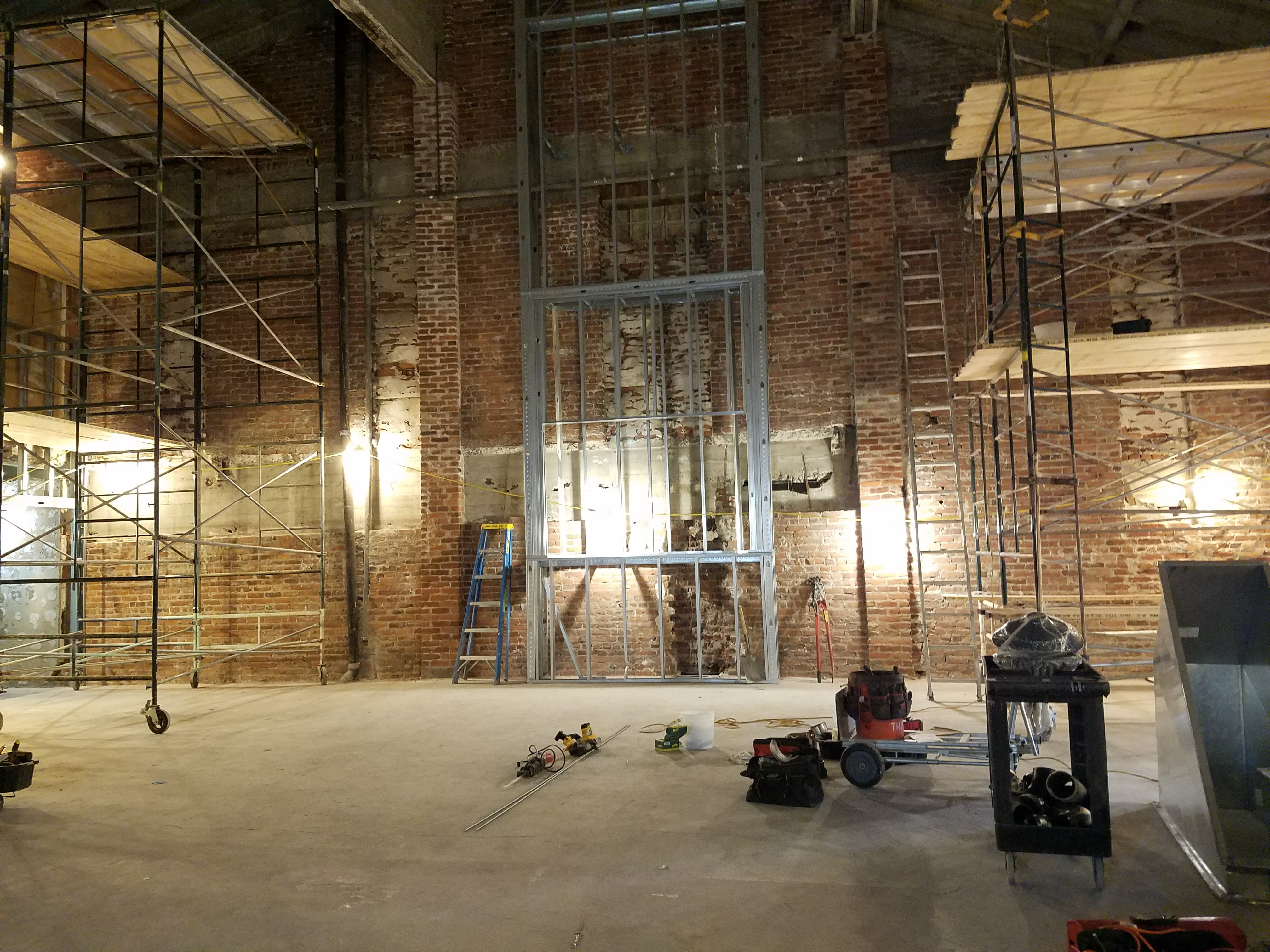 The Mayfair ballroom, under construction in the spring.