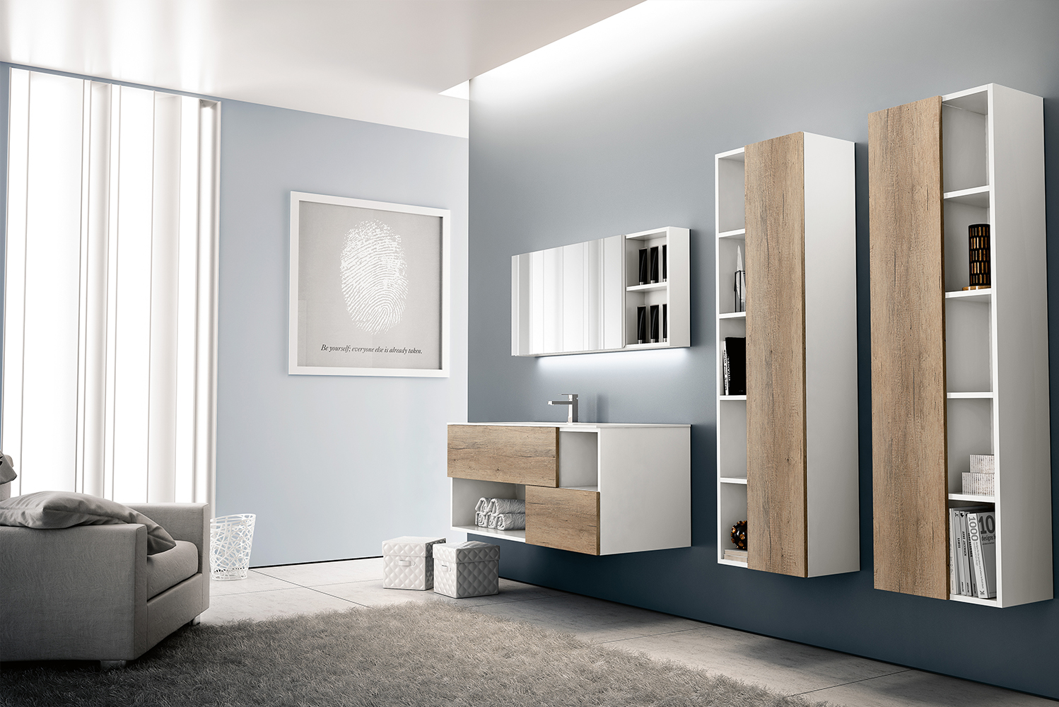The collection also offers tall storage cabinets that complement the vanity's horizontal styling.