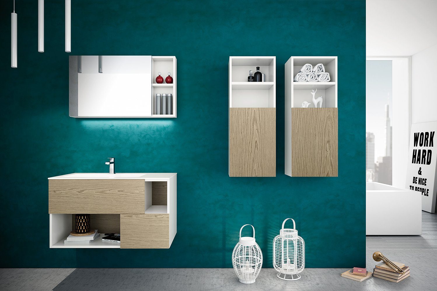 The Open collection vanities have matte white cabinets with drawer fronts in 36 colors in matte or glossy finish or in 10 wood finishes plus matte solid-surface countertops.