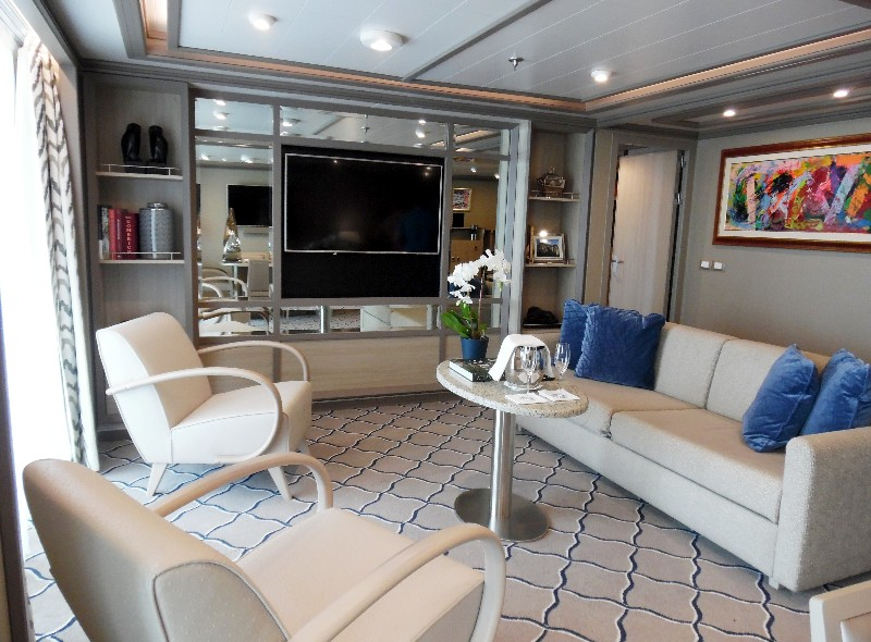 Living area of the Balsorano Owner's Suite on Silver Muse