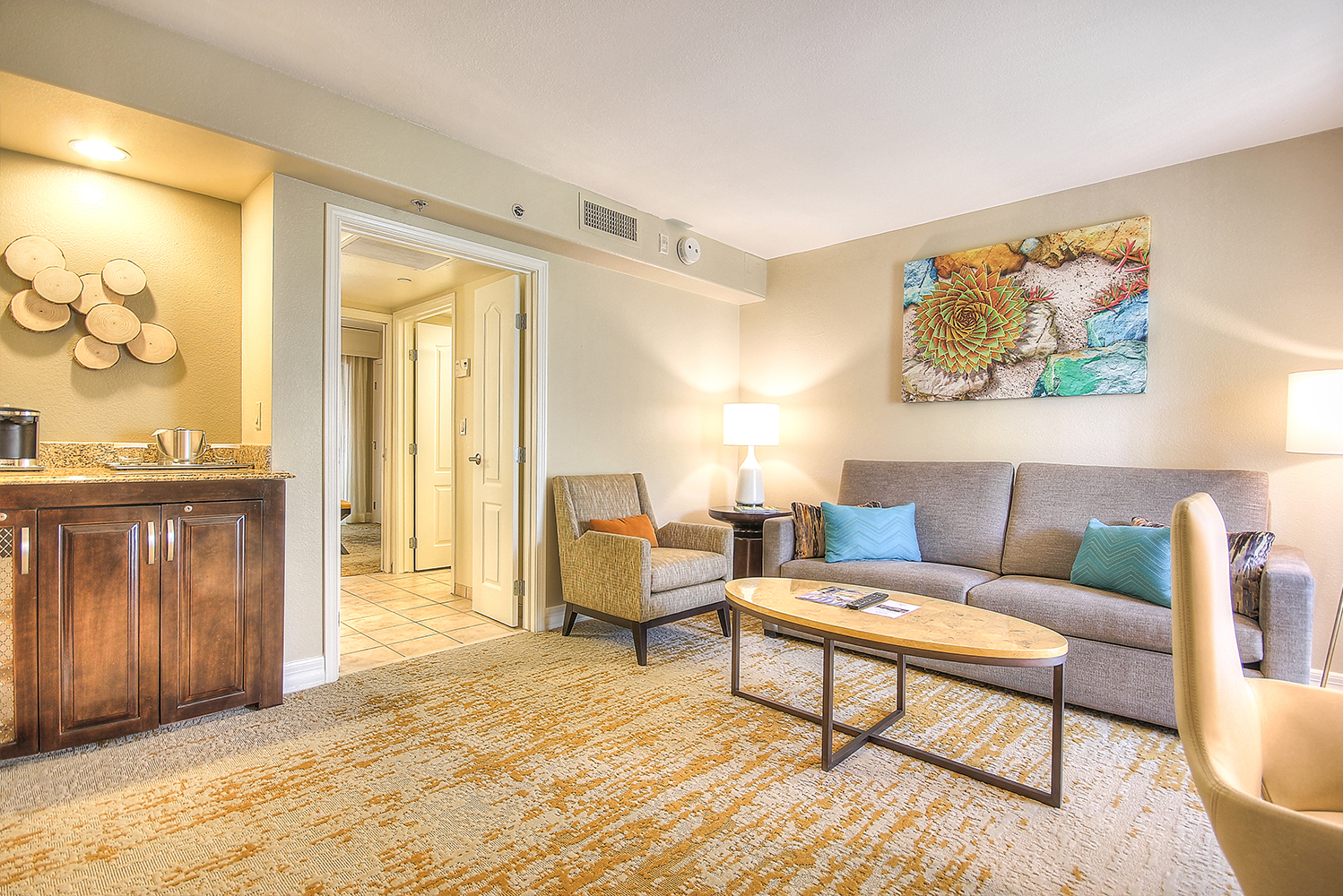 Each two-room suite has a queen-sized sofa sleeper in the living room, wet bar, two high definitions televisions and social seating areas.