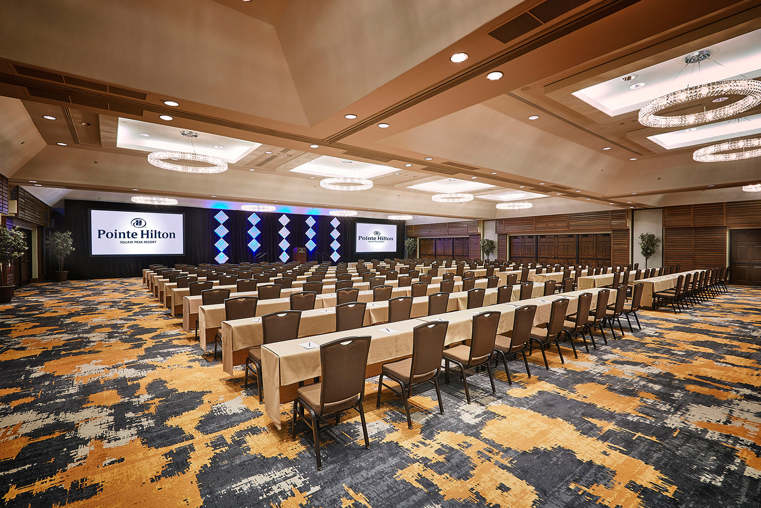 The meeting spaces were renovated with new decorative textured wall vinyl, revamped ceilings and custom crystal chandeliers.