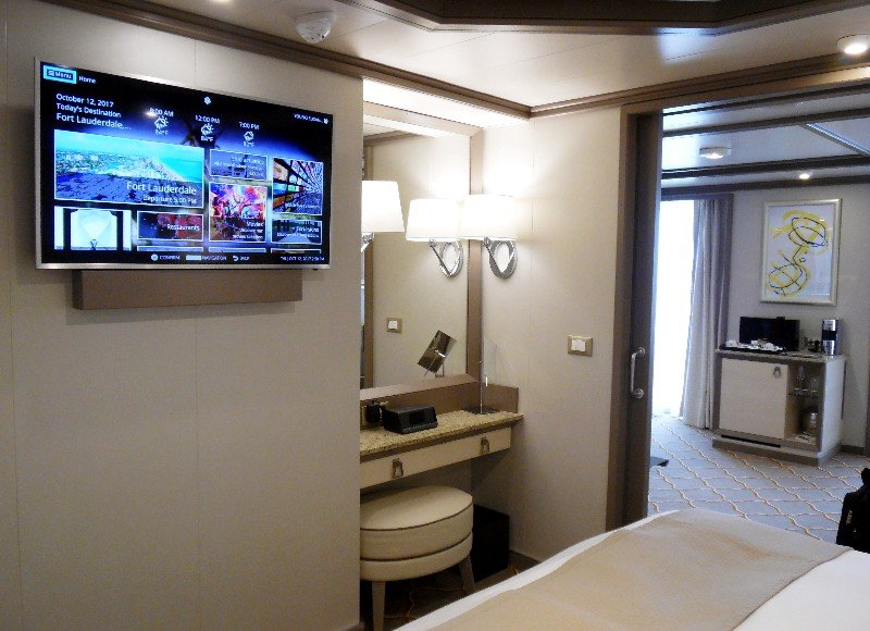 Bedroom TV and vanity - Silver Muse's Silver Suite