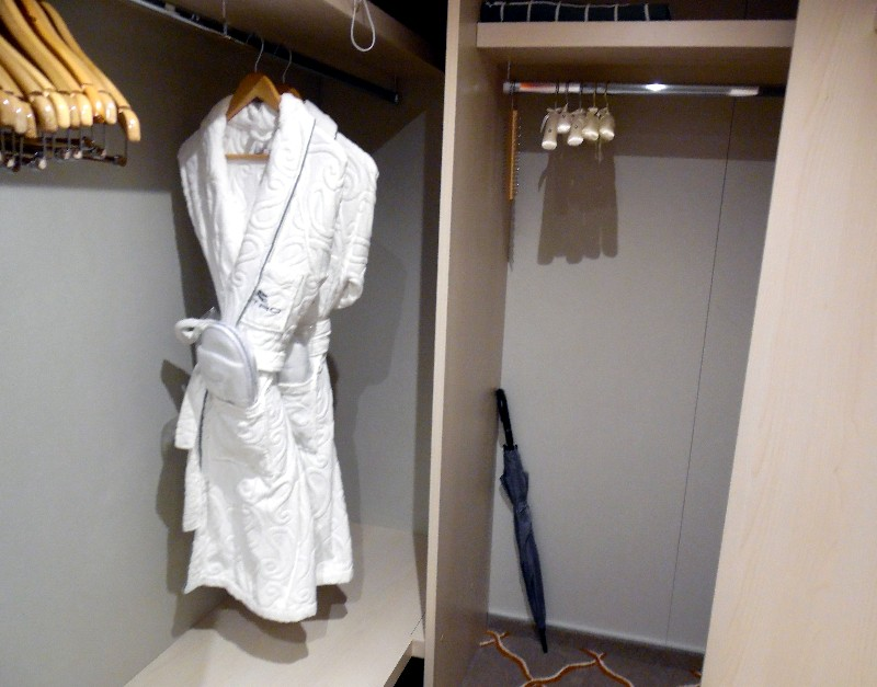 The walk-in closet in the Silver Suite has shelves plus this large area for hanging clothes.