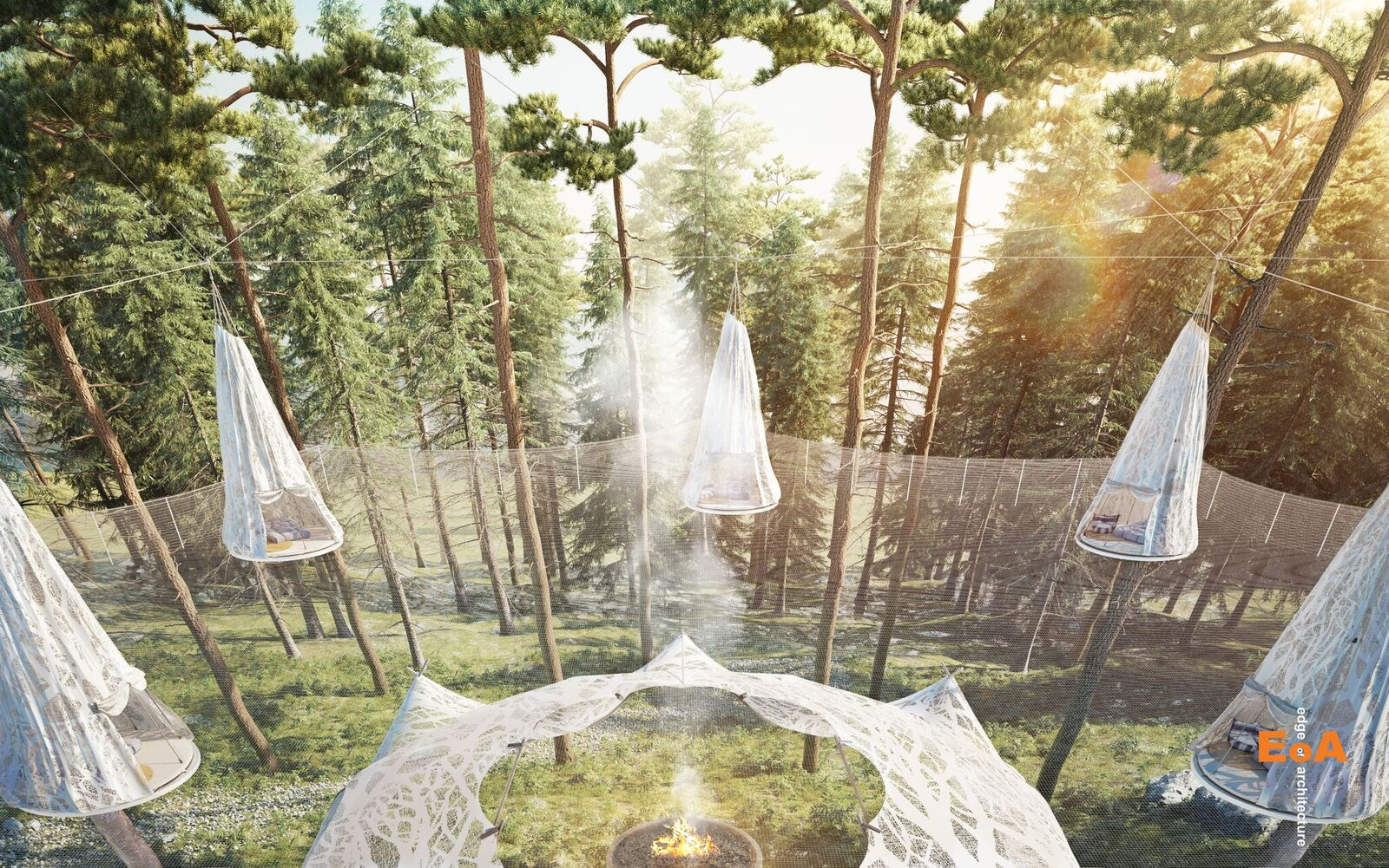 "The concept has temporary ""pods"" suspended in trees surrounding a central gathering platform."
