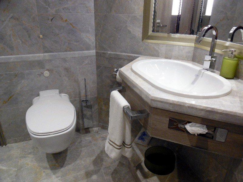 Toilet and additional sink (beyond the dual sinks in the shower/soaking tub area) for the Silver Suite