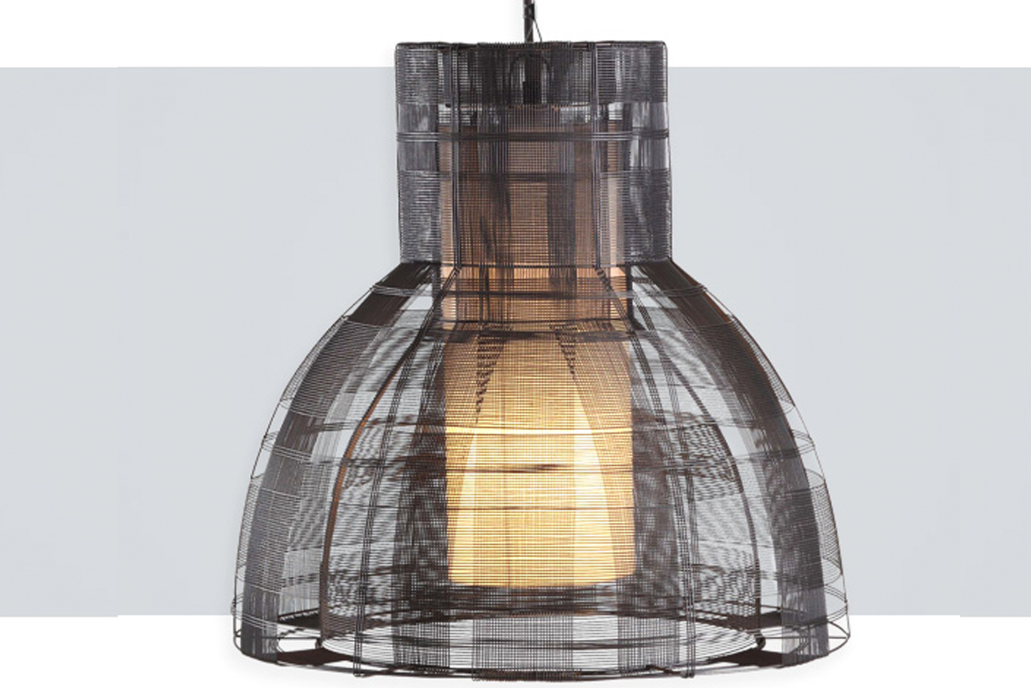 Urban by Uplight Group has a basket-like mesh woven from strands of galvanized iron.
