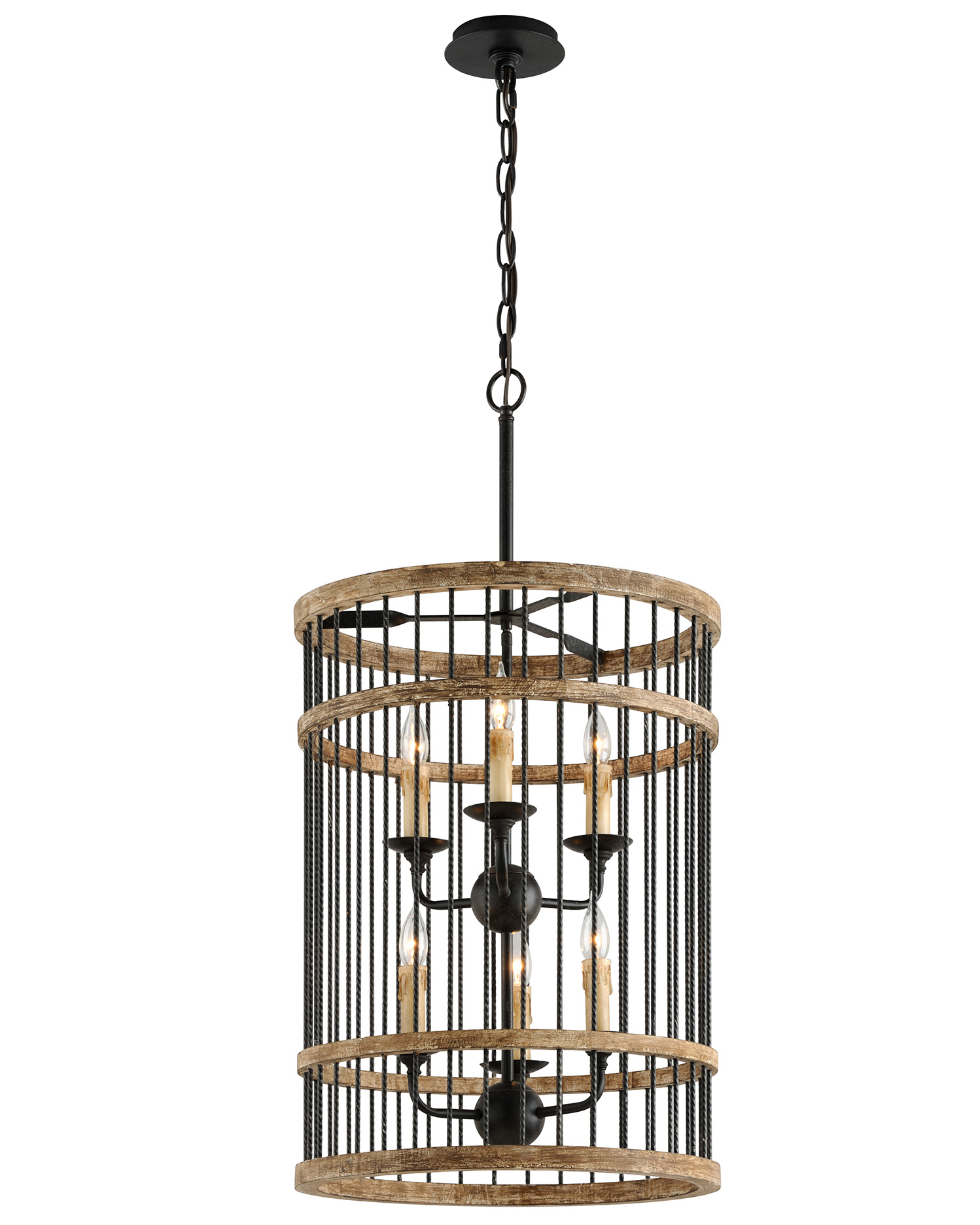 The cylindrical pendant is comprised of solid, twisted handcrafted iron rods.