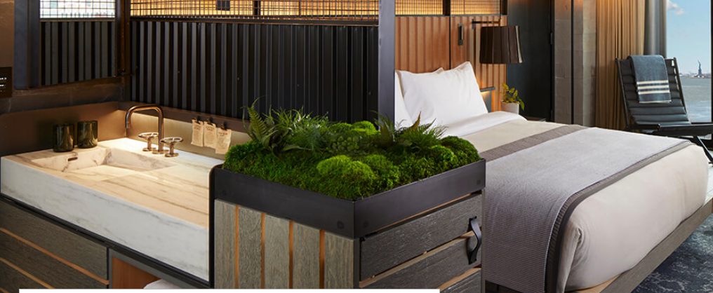 The 1 Hotel Brooklyn Bridge incorporates nature into the design of public spaces and guestrooms.