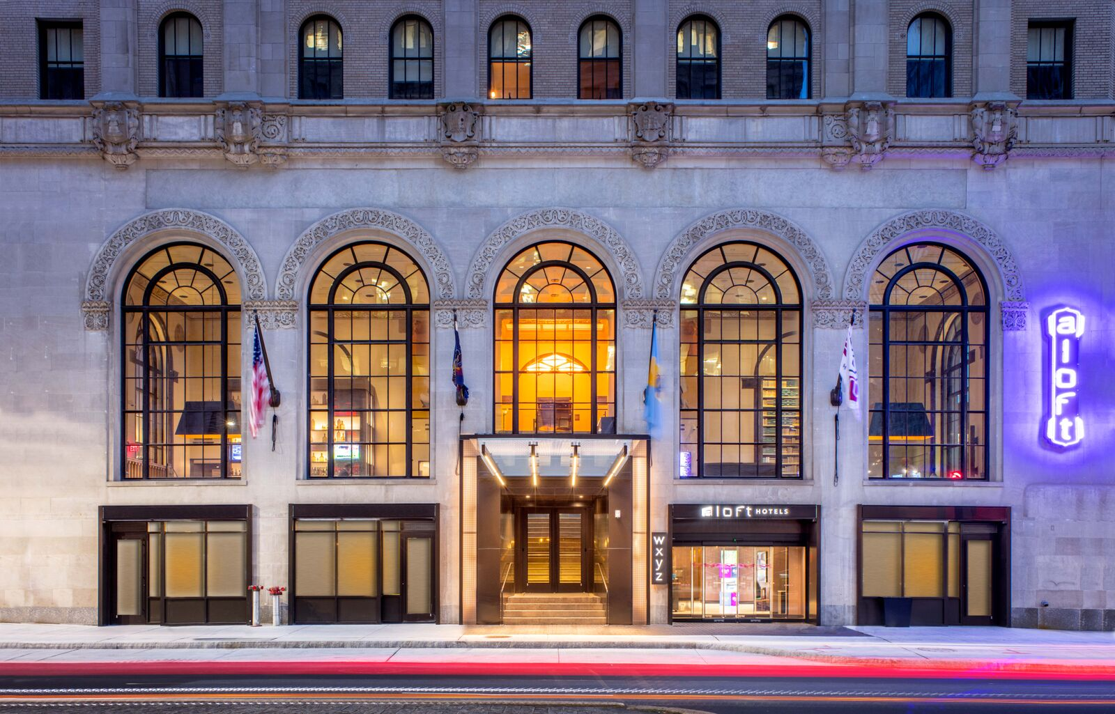 The Aloft Philadelphia Downtown is an adaptive reuse of a historic bank.
