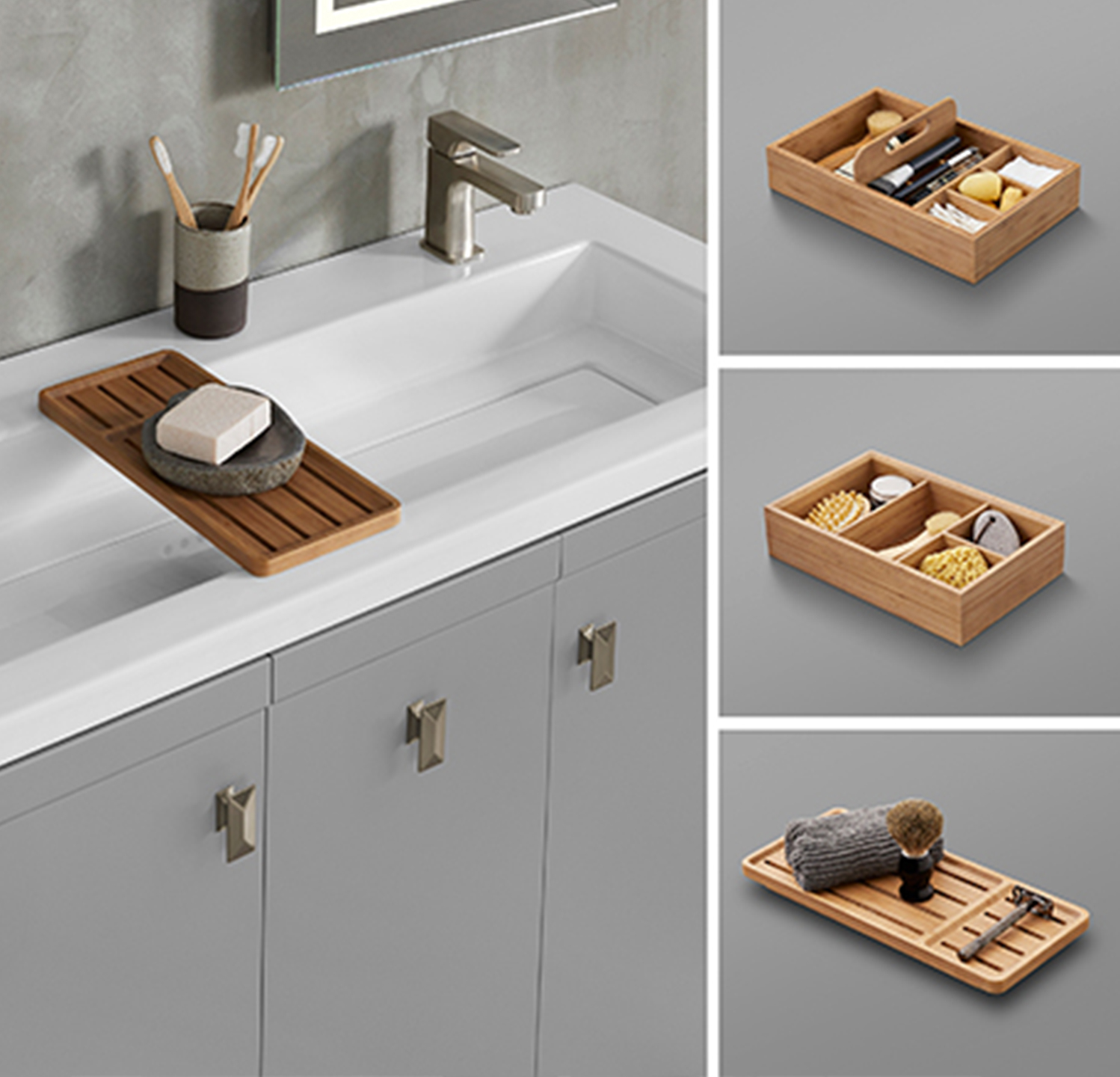 Users can accessorize with a make-up tray, storage tray or bamboo sink bridge.