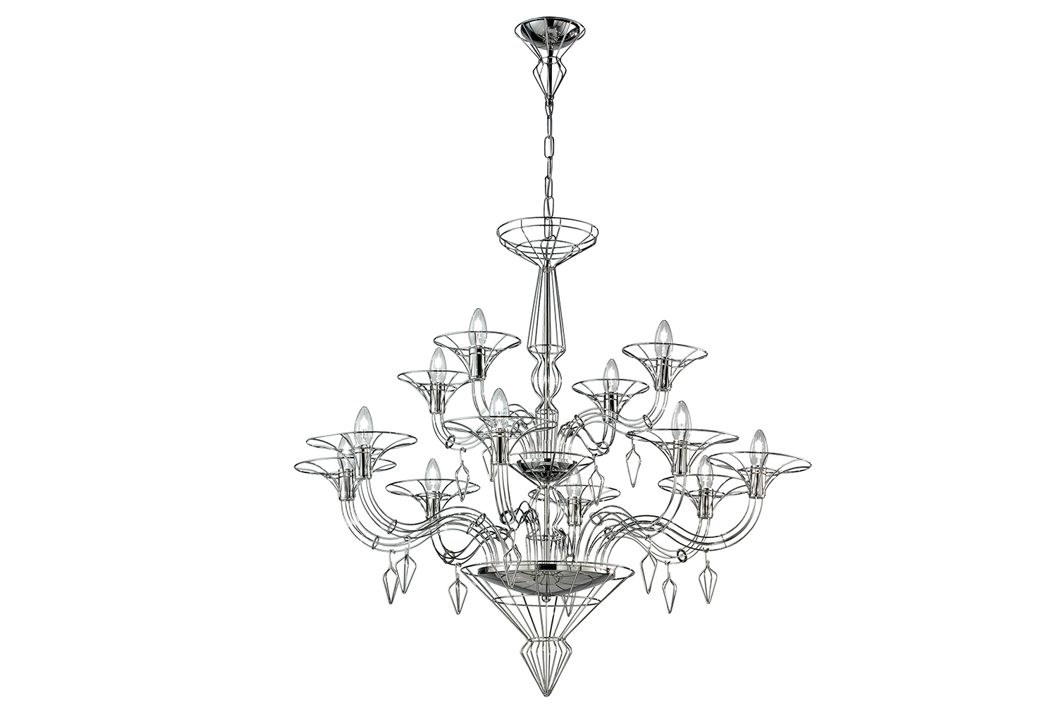Dedalo is available in chrome, gold or white, and as a chandelier, sconce or table lamp.