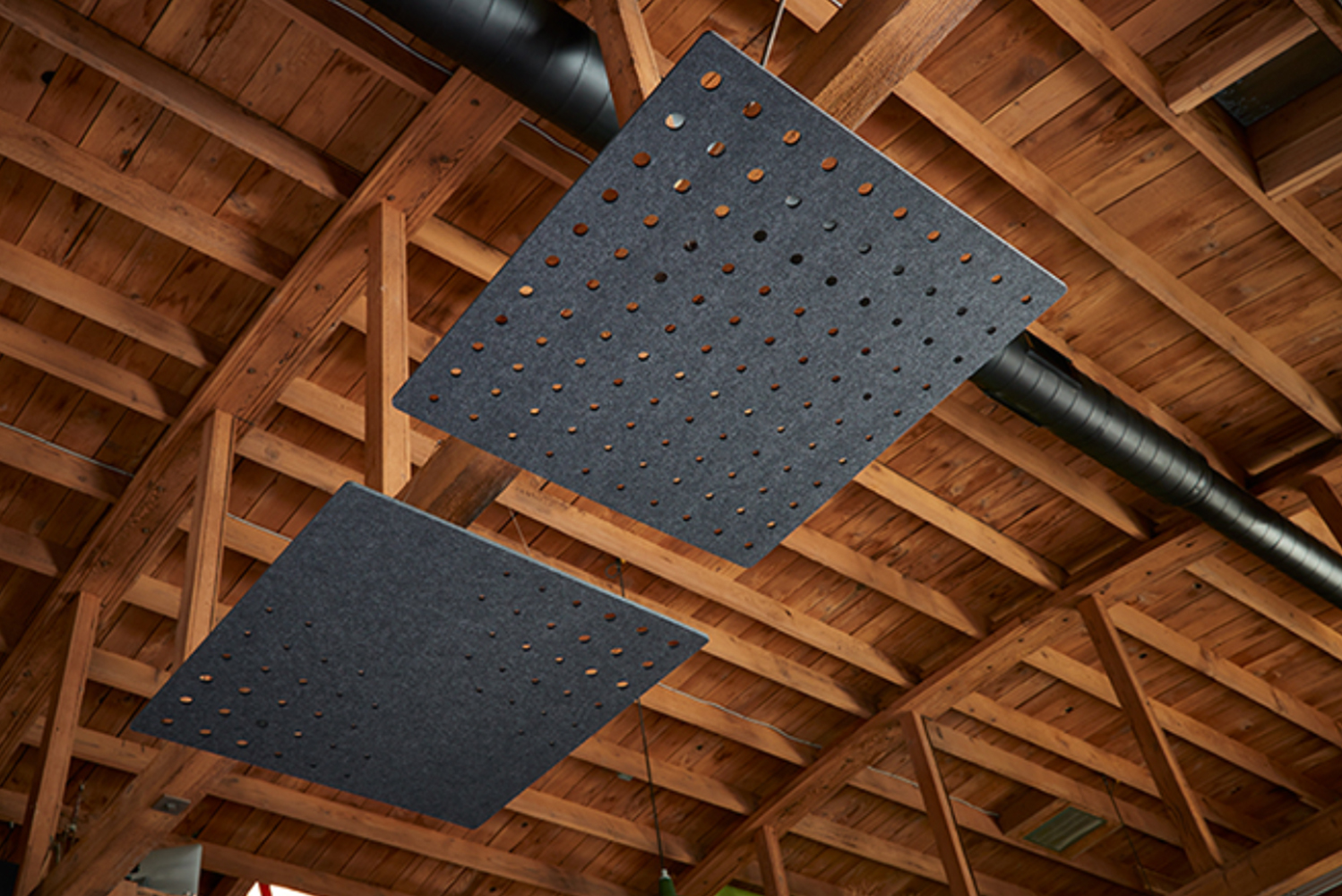 The customizable cloud units help absorb sound within an open space and reduce reverberation, no matter the ceiling type.