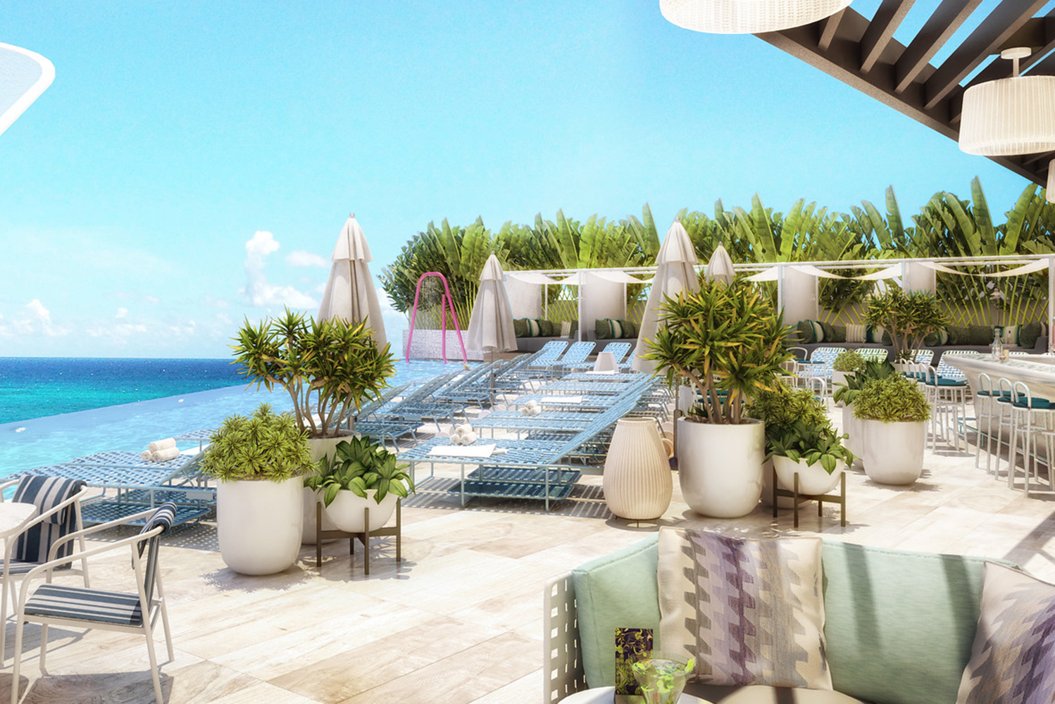 The property will have a poolside lounge, infinity pool, cabanas and By the Pool, the property's outdoor bar.