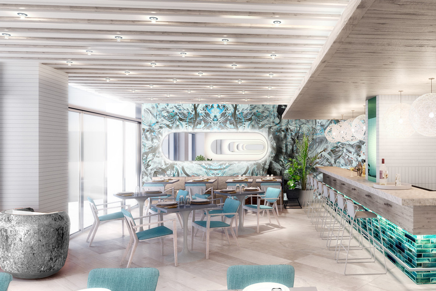 New dining concepts introduced by the Serafina Restaurant Group will include aMare, a modern take on traditional Italian seafood influenced by Puerto Rican flavors.