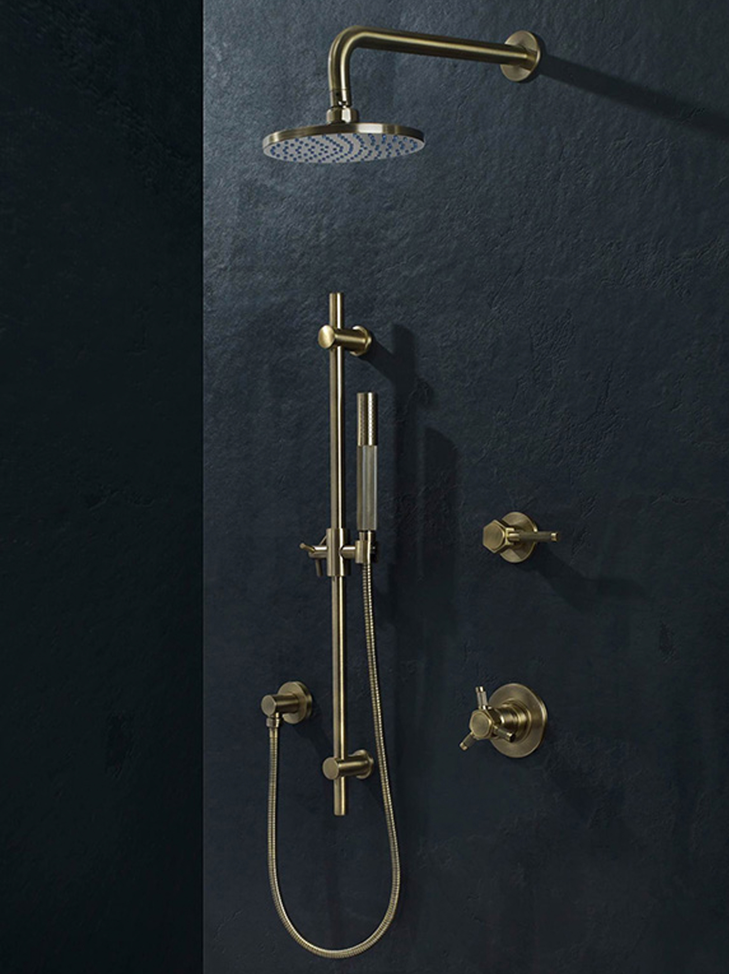 The thermostatic shower by Watermark Designs has built-in volume control and diverter in one.