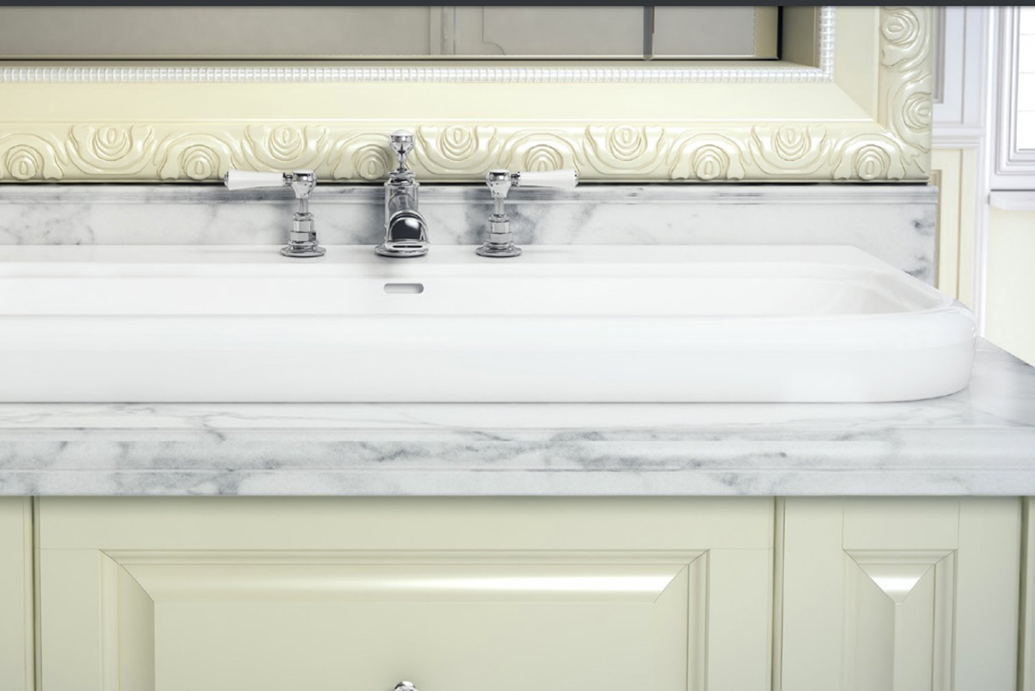 The basins may be countertop mounted or semi-recessed, and deck-mounted with brassware for easy cleaning.