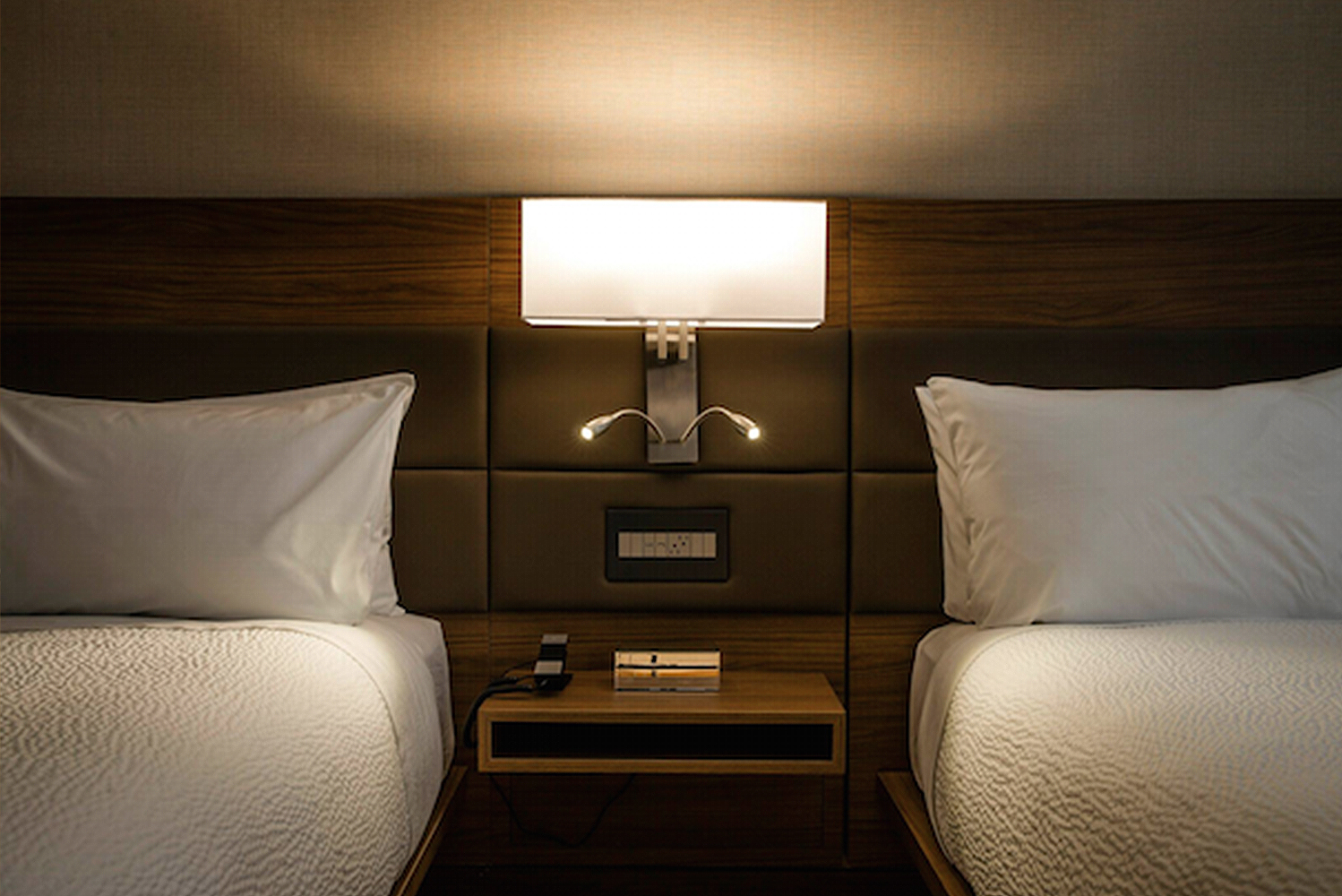 Integration into built-in furniture like headboards, night stands or lobby seating is possible.
