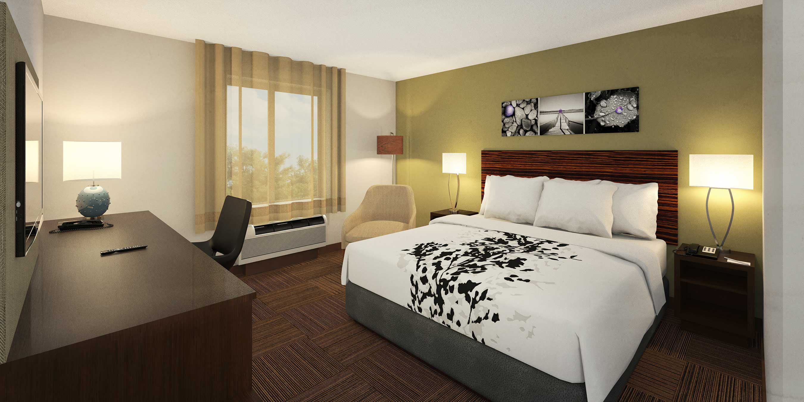 "The new guestrooms have ""slimmed down"" furnishings."