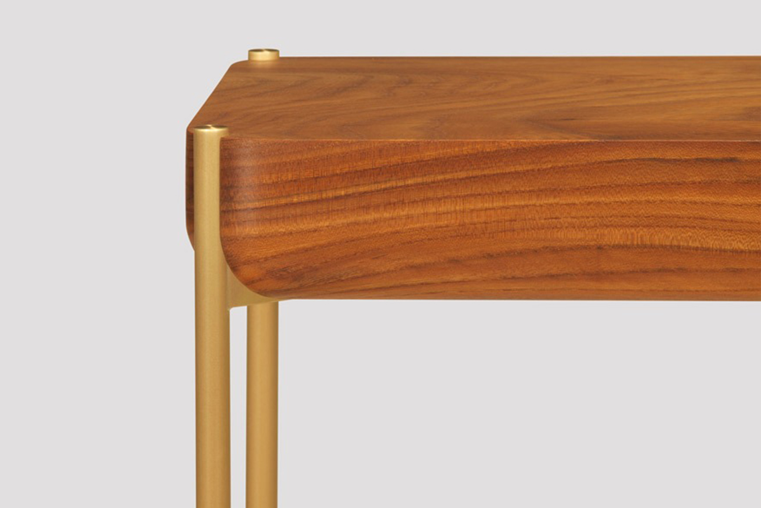 """A 2.5"""" thick timber top with reverse bullnose edge profile adds character while reinforcing the table's stability and sturdiness."""