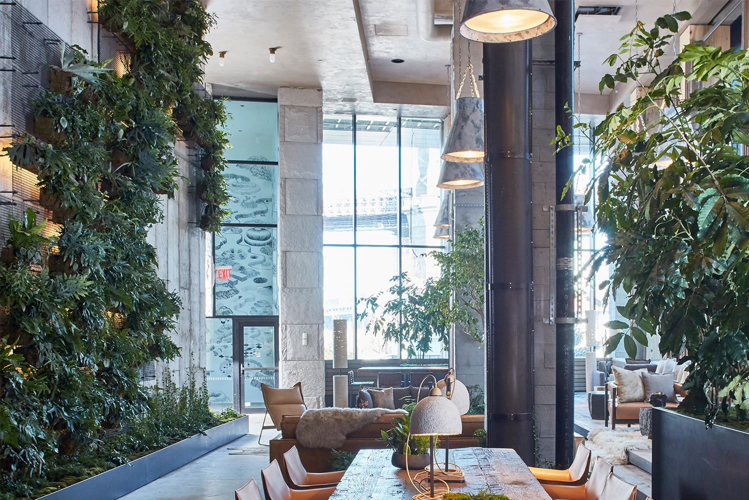 New York City-based landscape design firm Harrison Green brought the outdoors inside in the newly opened 1 Hotel Brooklyn Bridge.